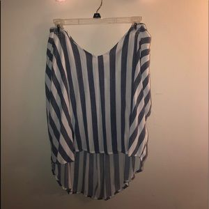 High to low striped flowy top